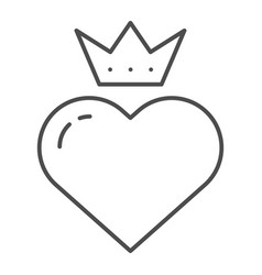 Heart with crown thin line icon valentines heart vector