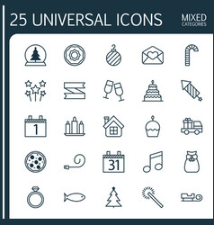 Holiday icons set collection of fishing wax vector