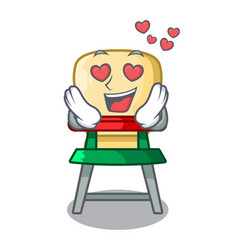 in love cartoon baby sitting in the highchair vector image