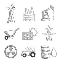 Industrial and mining sketched icons vector image