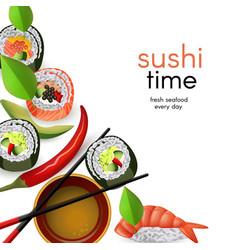 japanese sushi banner with rolls and ebi nigiri vector image