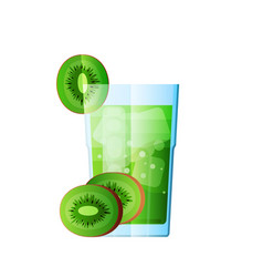 juice qiwi fresh juicy glass citrus vector image