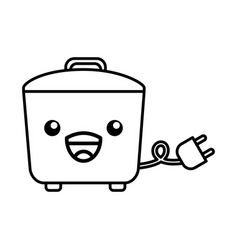 Kawaii rice cooker cartoon vector