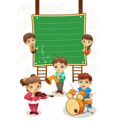 Kids playing music poster vector