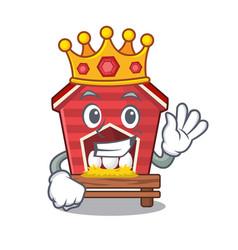 King toy chicken coop in cartoon table vector