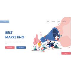 landing page with men and women with megaphone vector image