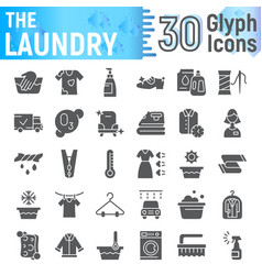 laundry glyph icon set clean symbols collection vector image