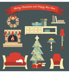 Living Room Christmas vector image