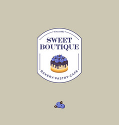 Logo sweet house blueberry bakery cafe vector