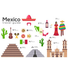 mexico travel guide template set mexicana vector image