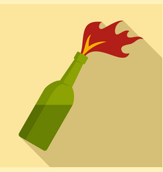 Molotov cocktail icon flat style vector
