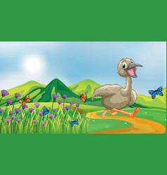 Nature scene background with ugly duckling vector