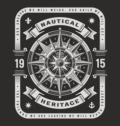 Nautical heritage typography on black background vector