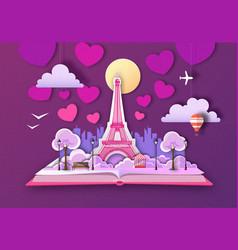 open fairy tale book with paris city landscape vector image