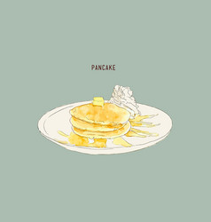 pancakes with whiped cream and maple syrup sweet vector image