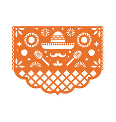 papel picado greeting card with floral pattern vector image