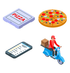 Pizza delivery icons set isometric style vector