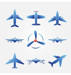 Plane blue icons vector