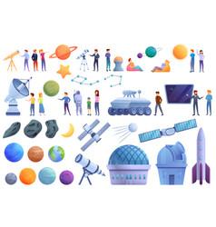 Planetarium icons set cartoon style vector