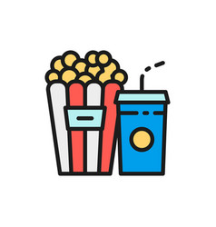 popcorn snack and drink cinema food flat color vector image