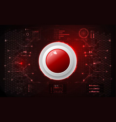 Realistic circle red button on abstract vector