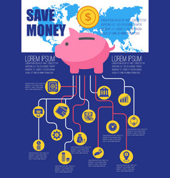 save money flat infographic vector image