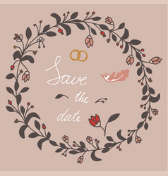 save the date hand lettering phrase flowers and vector image