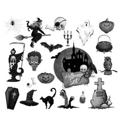 Scary icons for halloween party holiday vector