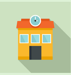 School building icon flat style vector