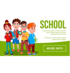 school eduacation banner girls boys vector image