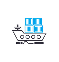 sea container transportation thin line vector image