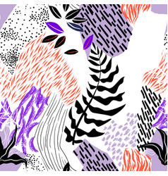 Seamless pattern hand drawn abstract shape vector