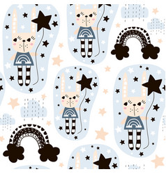 seamless pattern with cute rabbit girl rainbow vector image