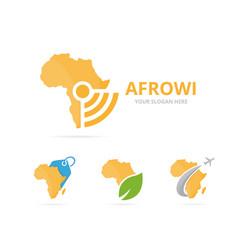 Set of africa logo combination safari and signal vector