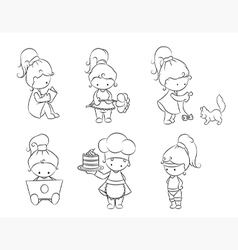 set of cute little girls vector image