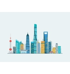 Shanghai abstract skyline vector image