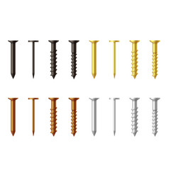 silver bronze black golden nails and screws vector image