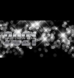 Silver happy new year banner with bokeh lights vector