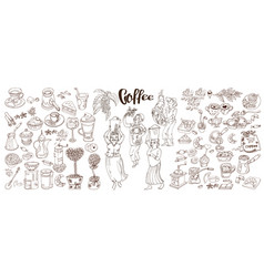 Sketch monochrome coffee elements collection vector