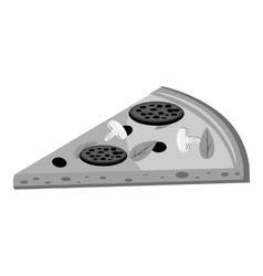 Slice of pizza icon gray monochrome style vector