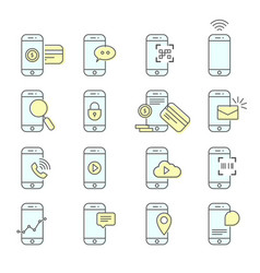 smartphone facility icons - nfc mobile payment vector image