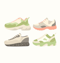 snickers shoes cartoon flat vector image