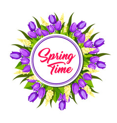 Spring floral wreath frame greeting card design vector
