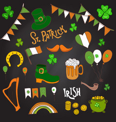 st patrick s day holiday design elements set vector image