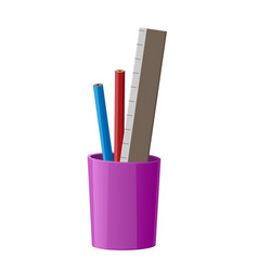 stationary cup with red pen blue pencil and ruler vector image