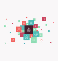 Team building infographic 10 steps pixel design vector