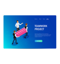 teamwork project concept with characters design vector image