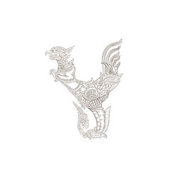 Thai traditional tattoo thai traditional painting vector