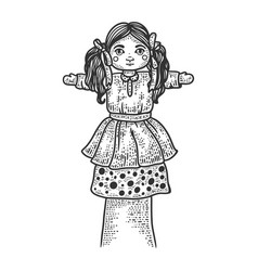 Toy puppet doll on hand sketch vector