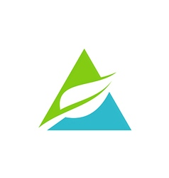 triangle green leaf pyramid logo vector image